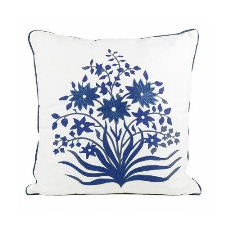 Capa de Almofada Floral Azul Bordada