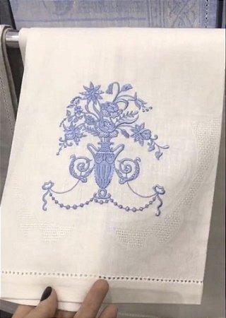 Toalha Lavabo Flor Azul