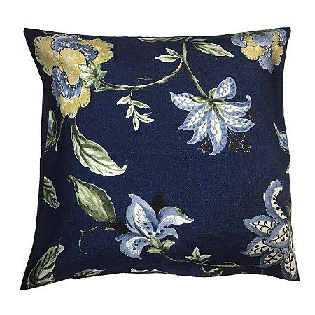 Capa de Almofada Floral Azul marinho 59x62 cm