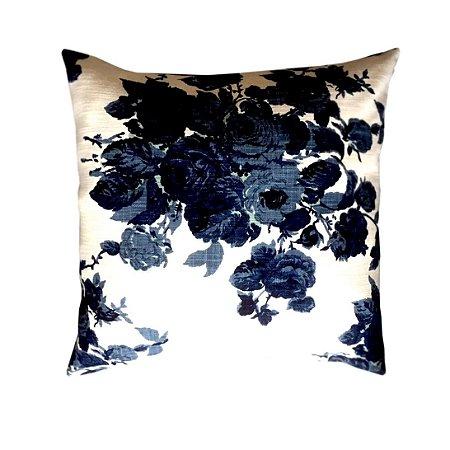 Almofada rosas azul marinho