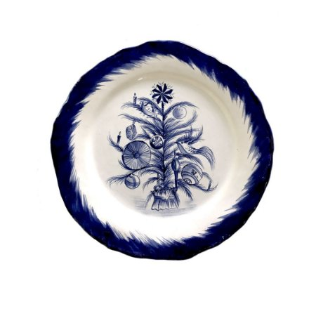 Prato raso Árvore de Natal Blue (cj com 6)