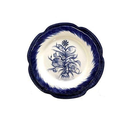 Pratos de Natal Blue Tree e Flor Azul (duo)
