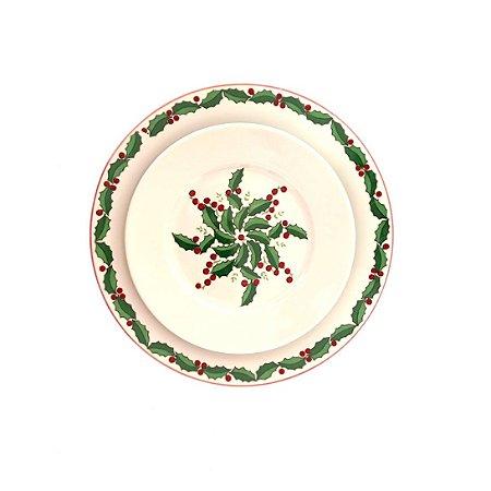 Prato Flores Natal Dupla (raso+sobremesa)