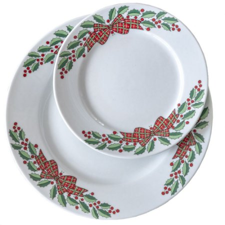 Prato raso e sobremesa Laço de Natal (duo)