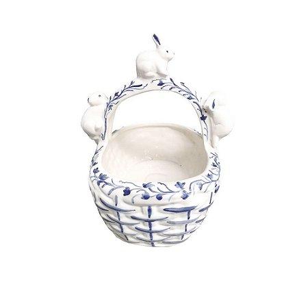 Cesta de cerâmica com Coelhos