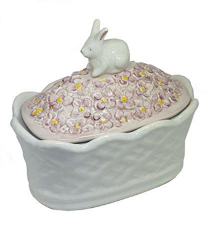 Pote Coelha com Flores