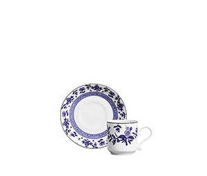 Xícara de Café azul e branca florida (cj com 6)