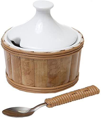 Açucareiro de cerâmica e Bambu (com colher)