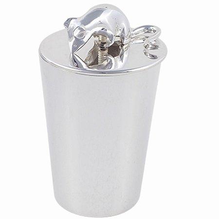 Porta Requeijão com Ratinho e Queijo em Prata