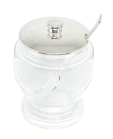 Açucareiro de prata e vidro