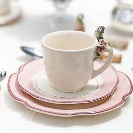 Conjunto Xícara café com passarinho e prato sobremesa rosa (2 pessoas)