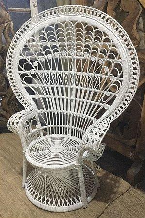 Cadeira Pavão de vime Branca