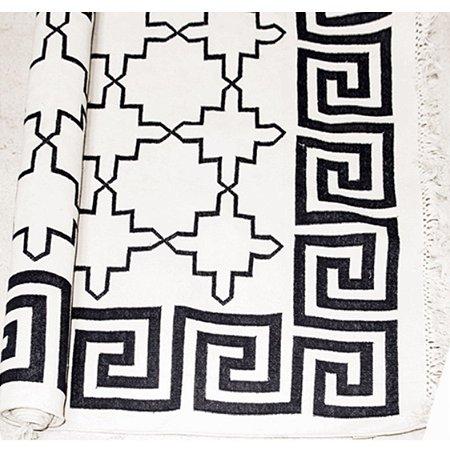 Tapete Dhurie Borda Grega Branco e Preto (3m x 2m)