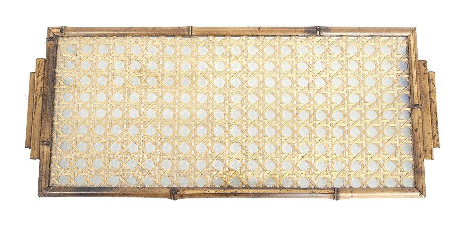 Bandeja de Bambu com palha dourada