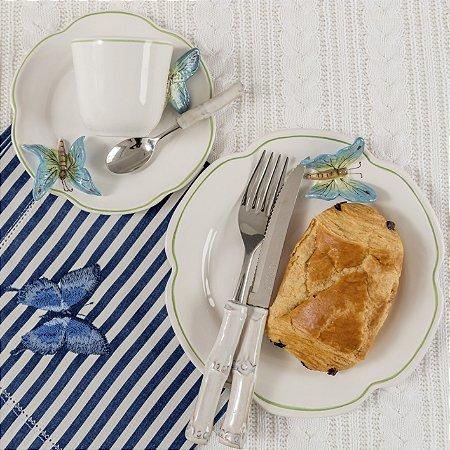 Conjunto Xícara Café e Prato sobremesa Borboleta