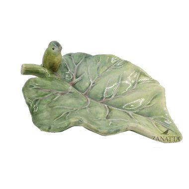 Petisqueira folha com passarinho verde
