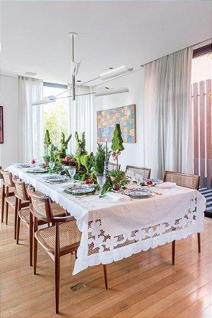 Toalha de mesa em linho Richelieu com 12 guardanapos (1,40 x 4m)