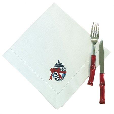 Guardanapo bordado Potiche com Laço (set com 6)