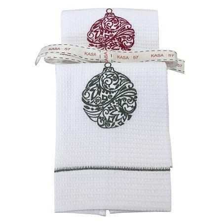 Kit de Natal: 2 toalhas lavabo bordadas bola vermelha/verde