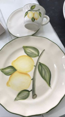 Set Prato sobremesa e xícara Limão Sicilano