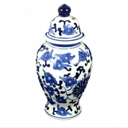 Potiche Azul e Branco Florido M