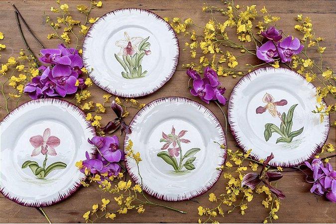 Pratos Jantar Orquídeas (set 4 pratos)