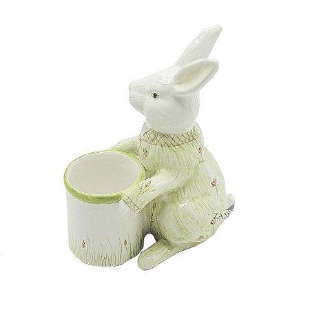 Coelho de cerâmica com Macacão Verde Florido Zanatta Casa