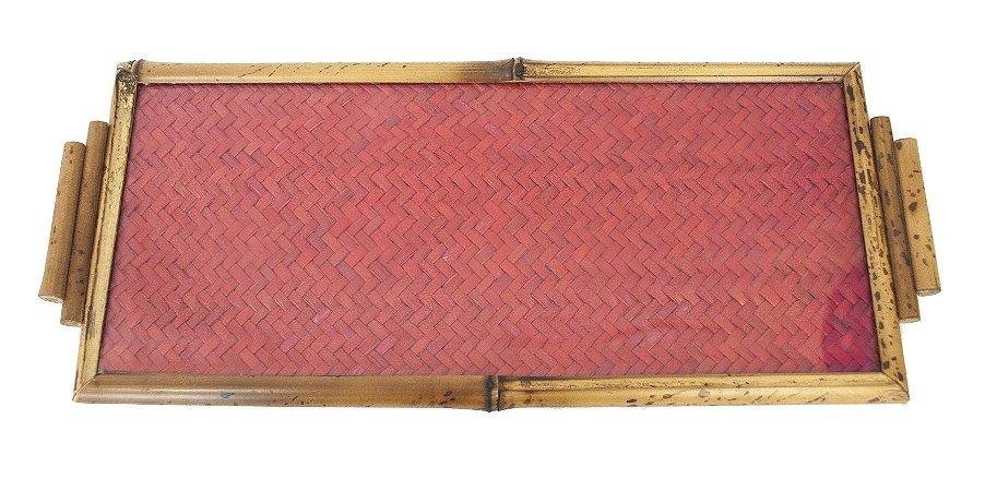 Bandeja de Bambu com Palhinha Vermelha e Vidro