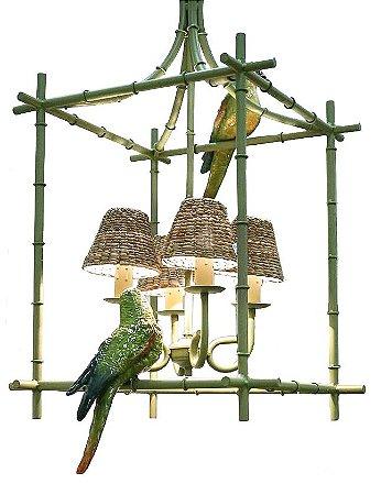 Lustre Zanatta Casa Gaiola Chinoiserie com Papagaios e cúpulas de taboa