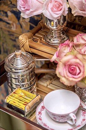 Porta Adoçante / Porta Chá de Prata com Bambu