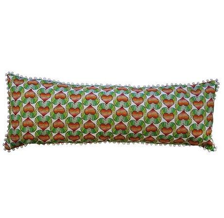 Capa de Almofada corações/listras verdes com pompom