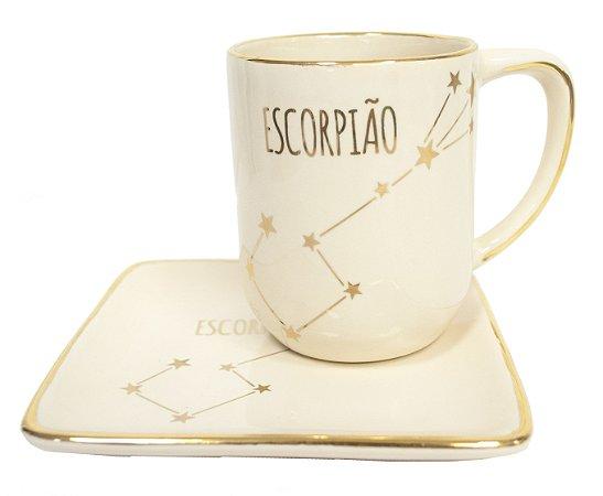 Jogo xícara e pratinho Signos Escorpião