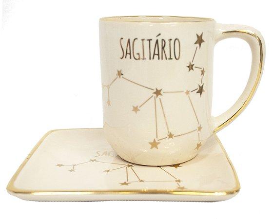 Jogo xícara e pratinho Signos Sagitário