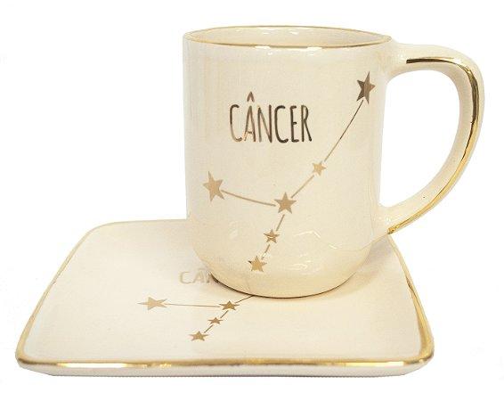 Jogo xícara e pratinho Signos Câncer