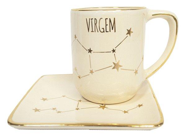 Jogo xícara e pratinho Signos Virgem