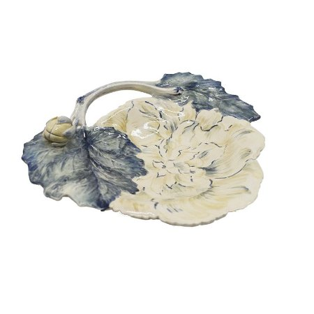 Prato Sobremesa Azul Flor Relevo (cj com 6)