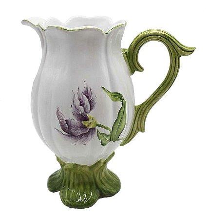 Jarra de cerâmica tulipa violeta Zanatta Casa