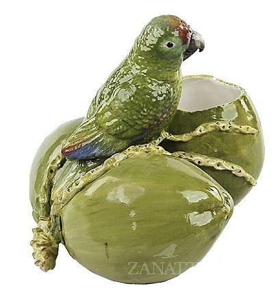 Vaso cerâmica cacho de coco com papagaio Zanatta Casa