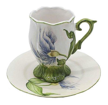 Xícara de chá tulipa azul Zanatta Casa
