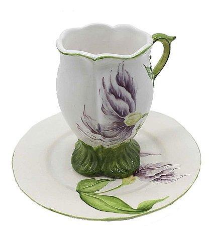 Xícara de chá tulipa violeta Zanatta Casa
