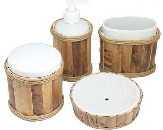 Kit para banheiro em cerâmica e bambu