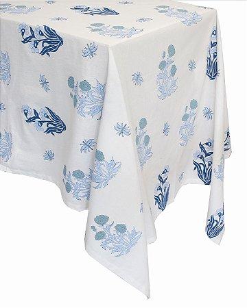 Toalha de Mesa Floradas Azul 3,5m