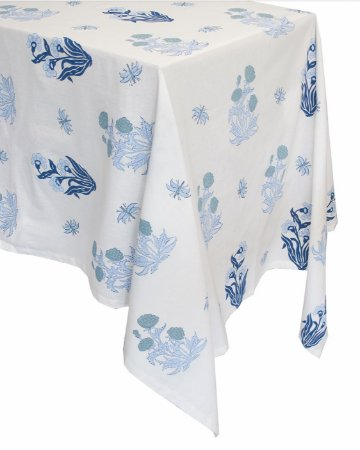 Toalha de Mesa Floradas Azul 4m