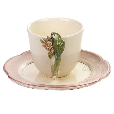 Xícara de Chá Rosa Antigo Pássaro Punta com Rosas (cj com 2)