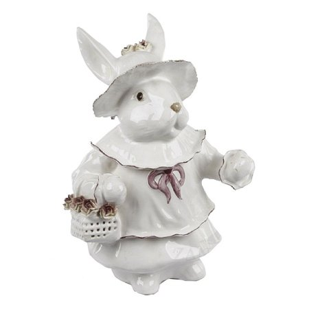 Coelha com Cesta de Rosas Vazada Zanatta Casa