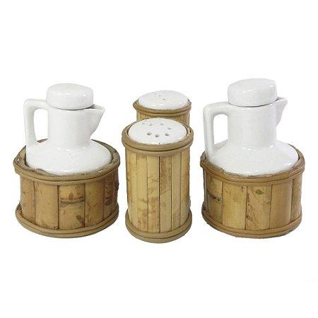 Galheteiro de Porcelana e Bambu (4 peças)