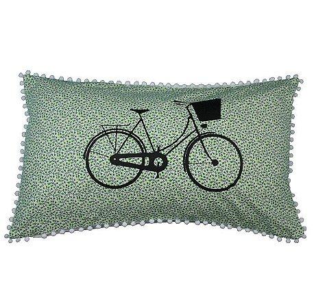 Capa de Almofada Bicicleta Flores verde claro 31x50cm