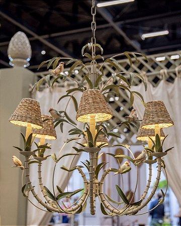 Lustre Bambu de Ferro com Passarinhos Zanatta Casa (sem cupula)