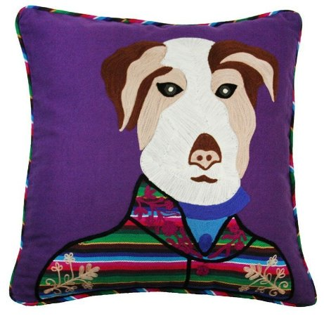 Capa de Almofada cachorro bordada roxa 45x45 cm