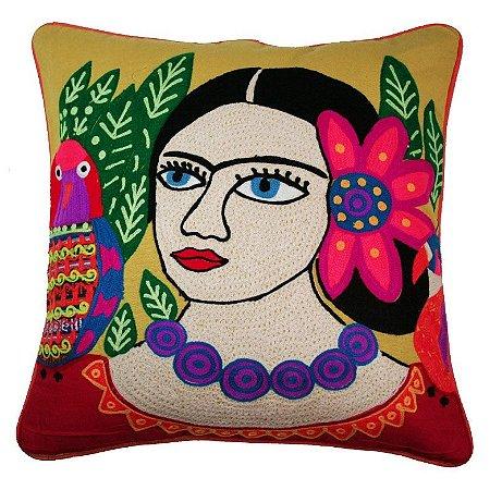 Almofada Frida Kahlo Amarela Bordada 48x48